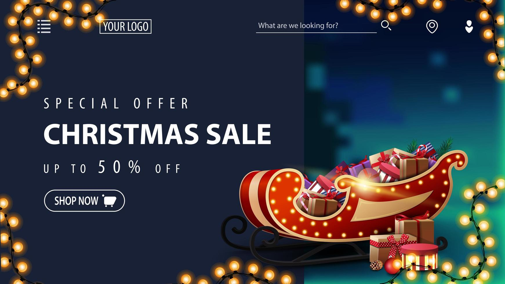Christmas discount banner for website with blurred winter landscape vector