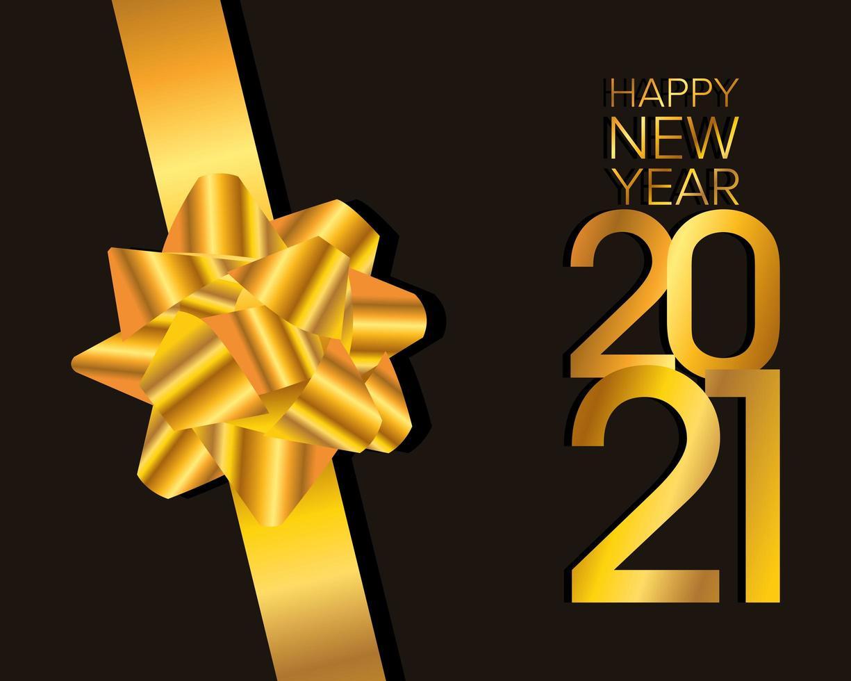 feliz año nuevo, tarjeta de celebración 2021 con lazo dorado vector