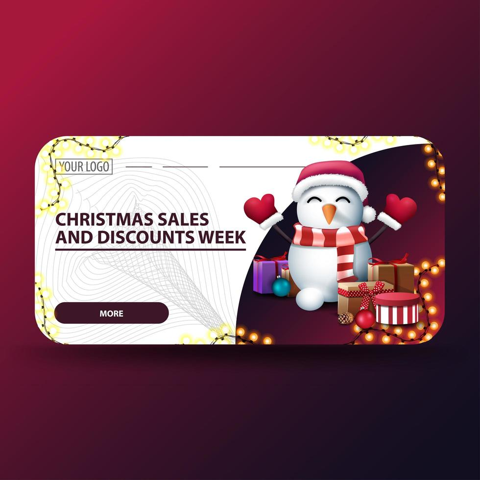 Christmas white modern discount banner with rounded corners vector