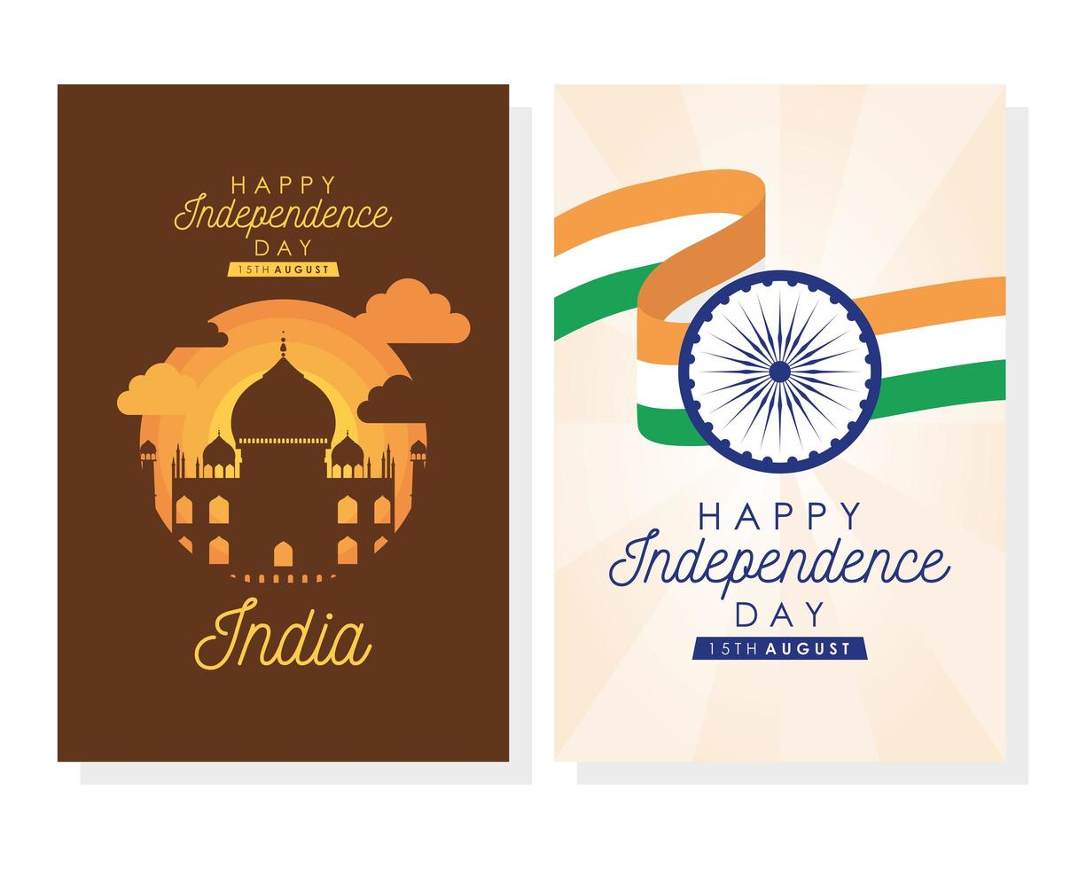 Happy India Independence Day celebration poster set vector