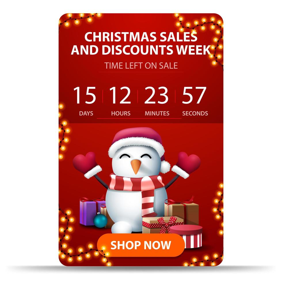 Red vertical Christmas banner with countdown timer vector