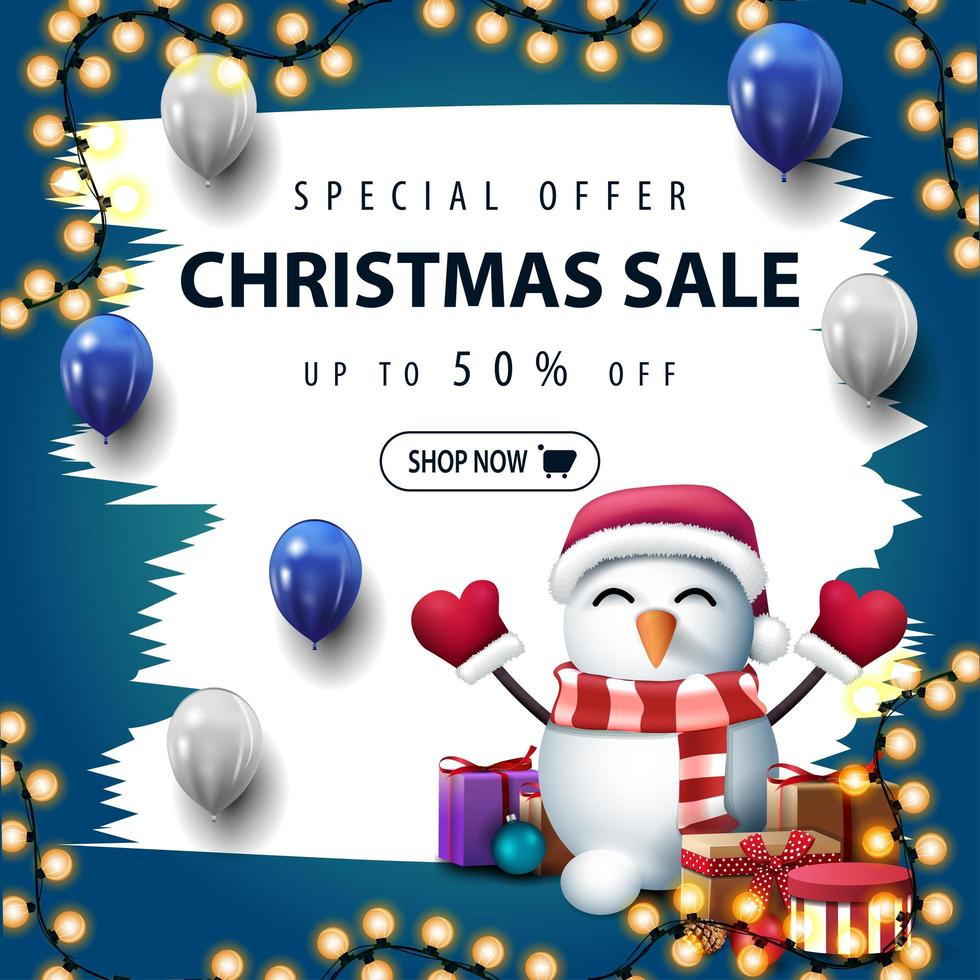 Christmas white and blue discount banner with brush strokes vector