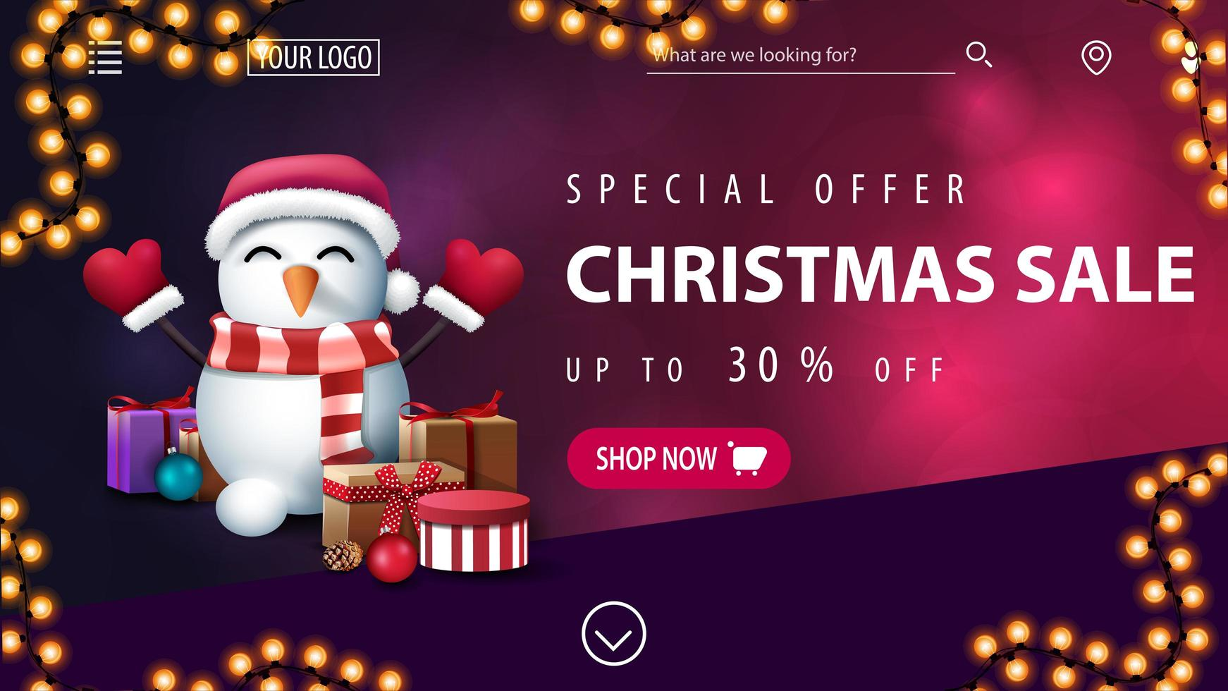 Christmas purple discount banner with blurred background vector