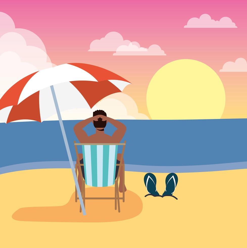 hombre tomando el sol en la playa, escena de verano vector