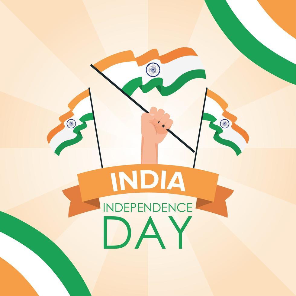 feliz día de la independencia de india celebración banner vector