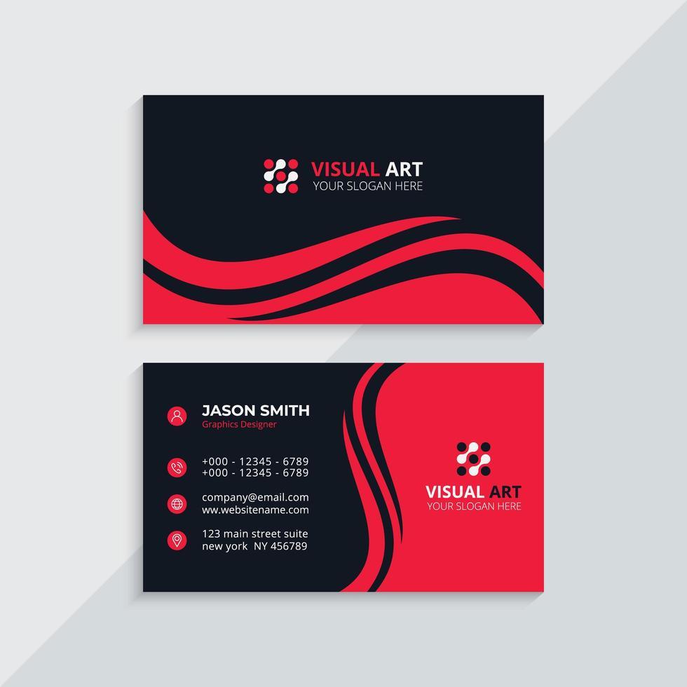 tarjeta de visita roja y negra vector