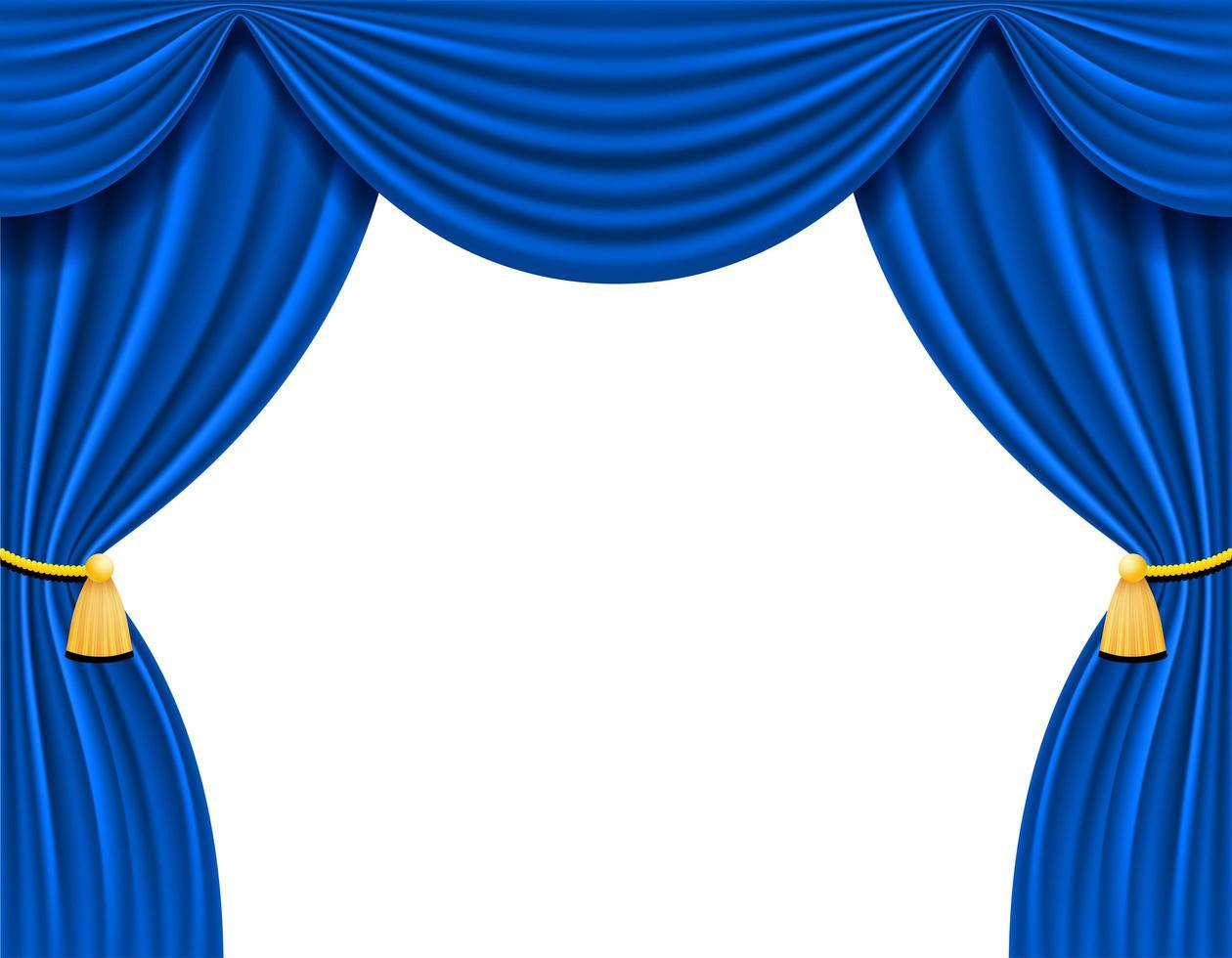 Cortina teatral azul para la ilustración de vector de diseño