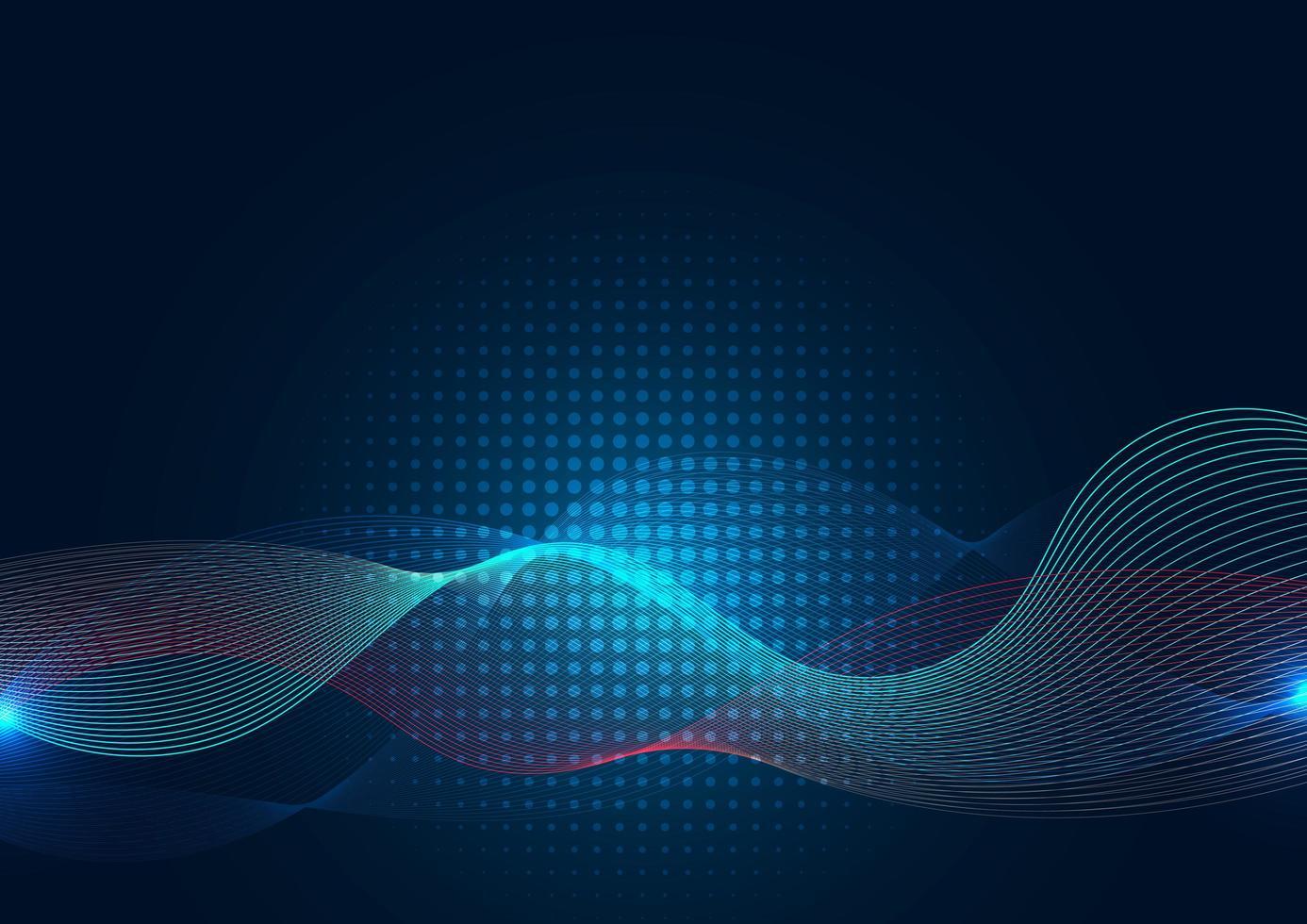 Línea de onda azul abstracta con semitono sobre fondo oscuro vector