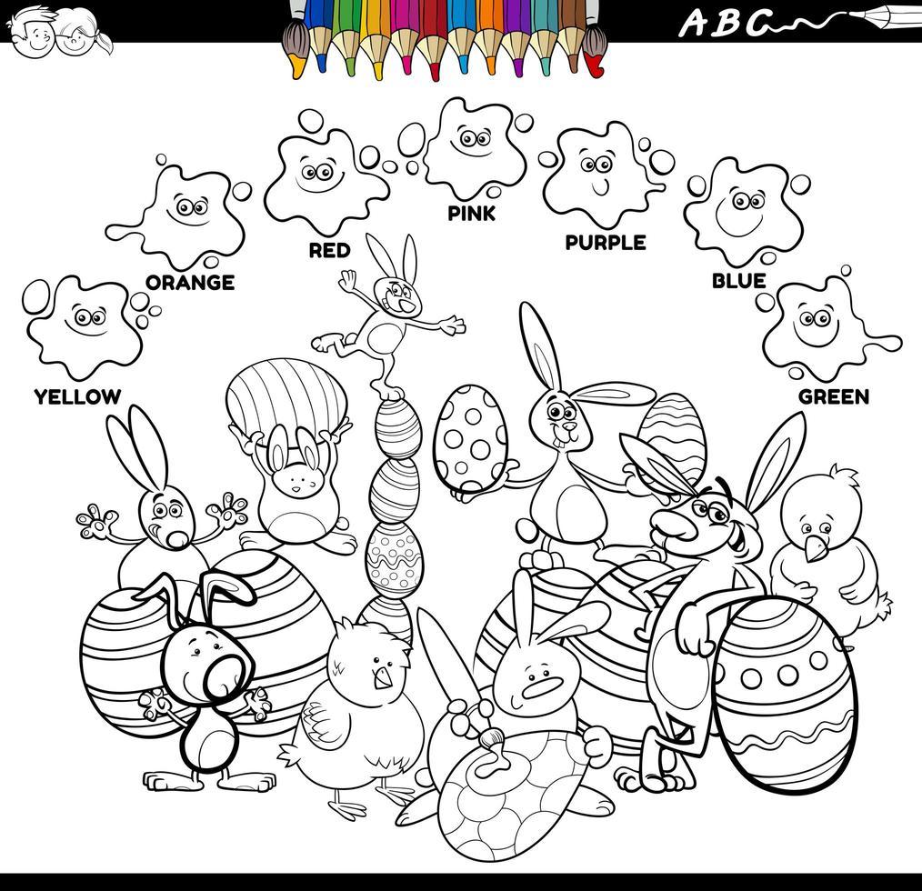 Libro de colores de colores básicos con personajes de pascua. vector