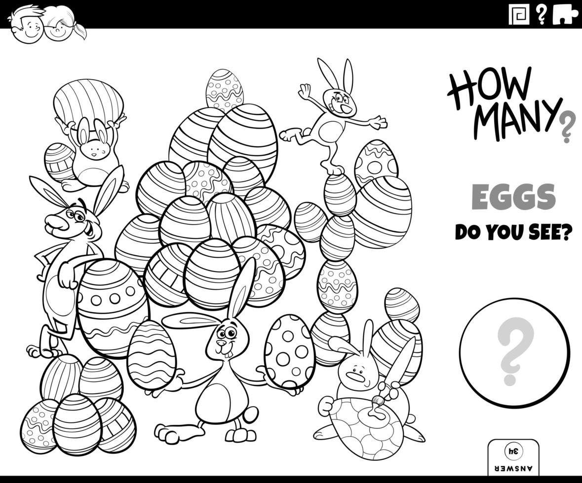 Counting Easter eggs educational game color book vector