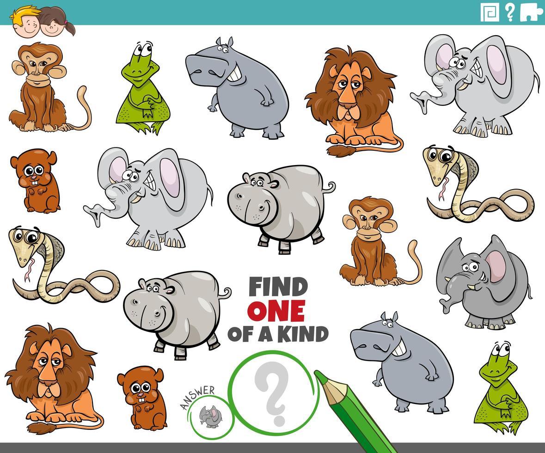 tarea única para niños con animales divertidos vector