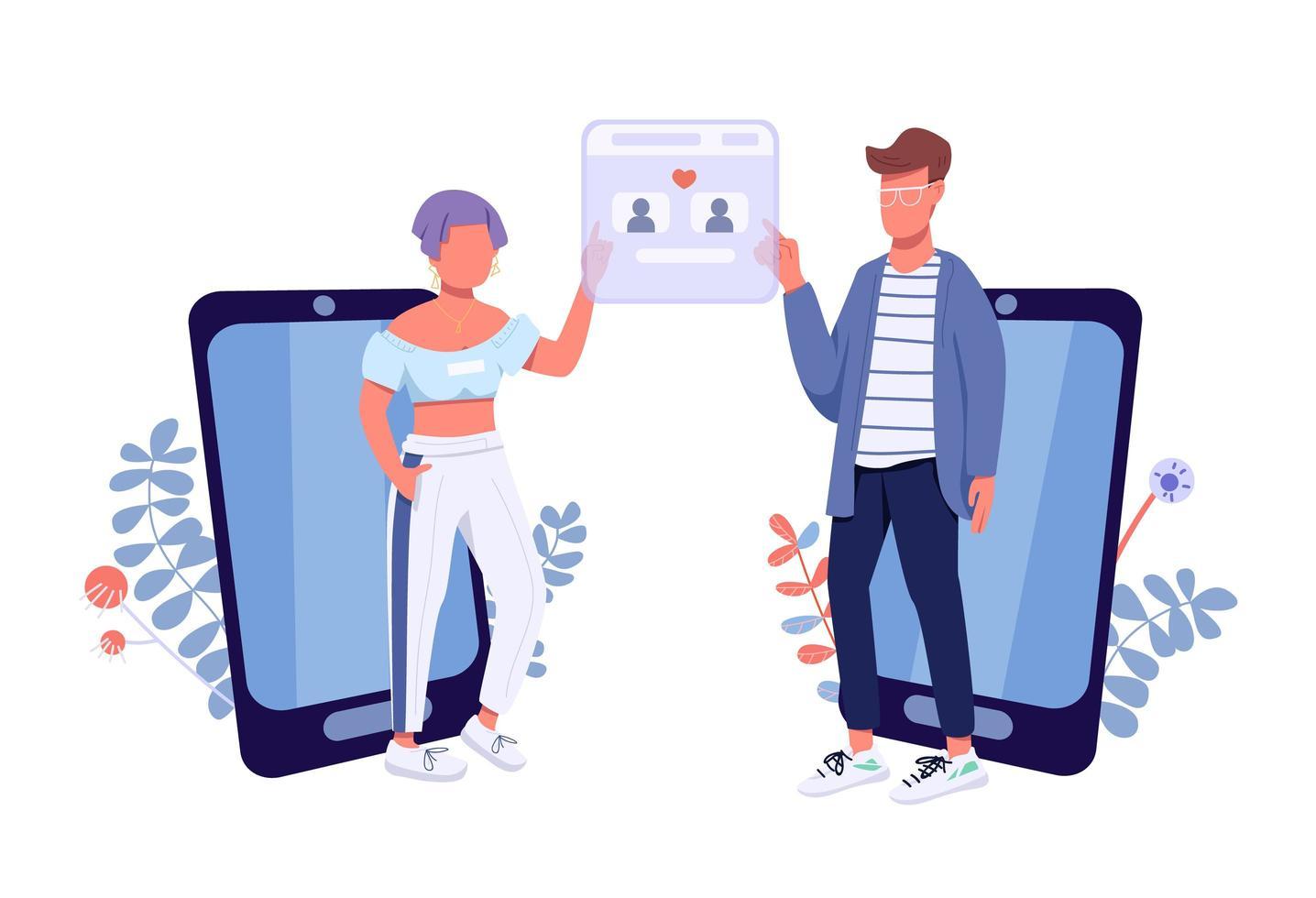 aplicación de citas online vector