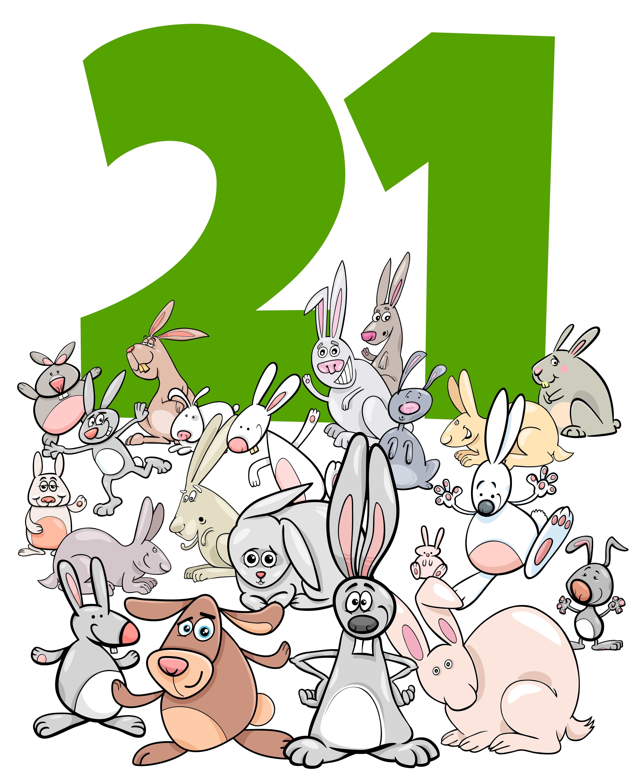 Number Twenty One And Cartoon Rabbits Group Download Free Vectors Clipart Graphics Vector Art