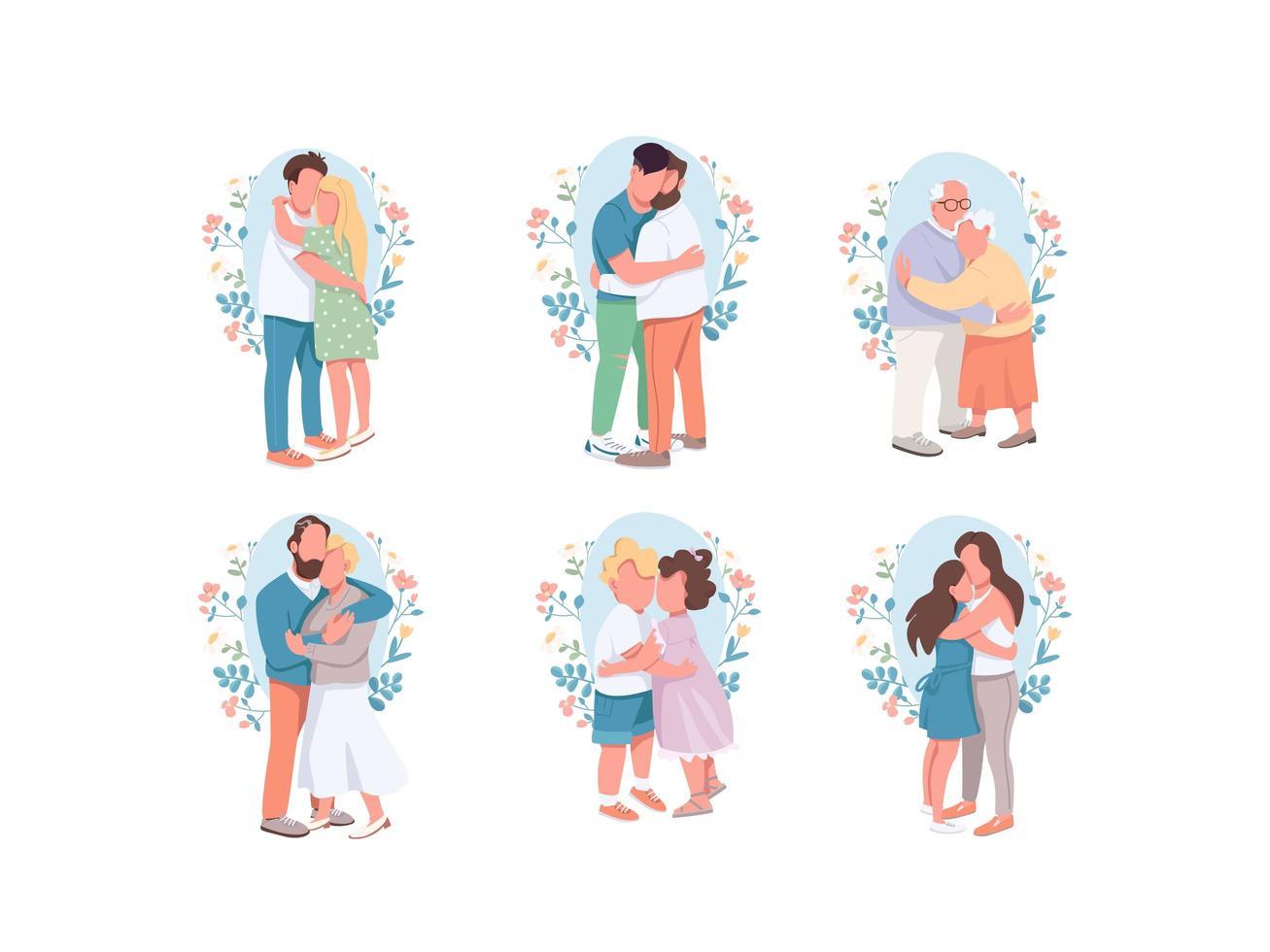 abrazos conjunto de personajes vector