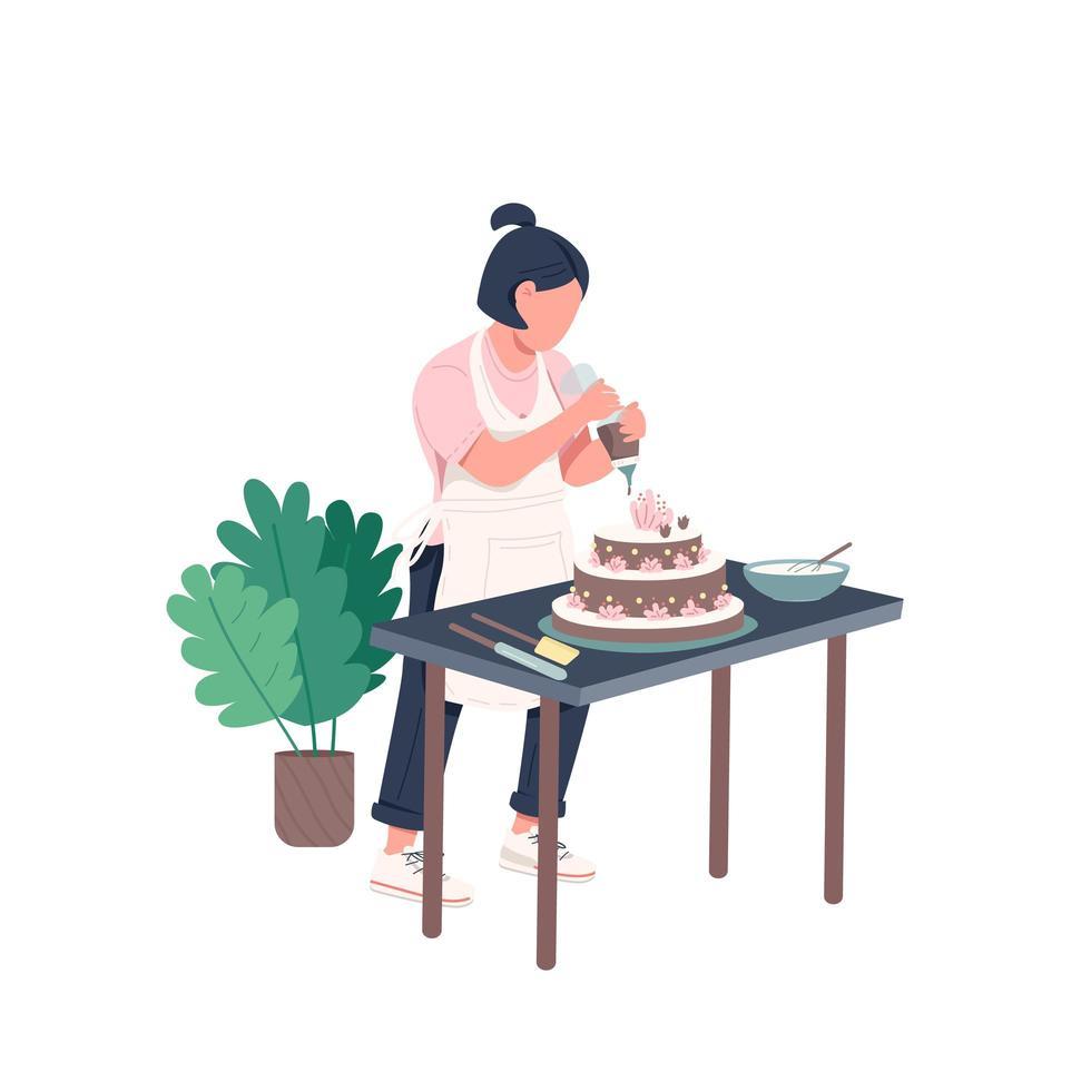 ama de casa horneando un pastel vector