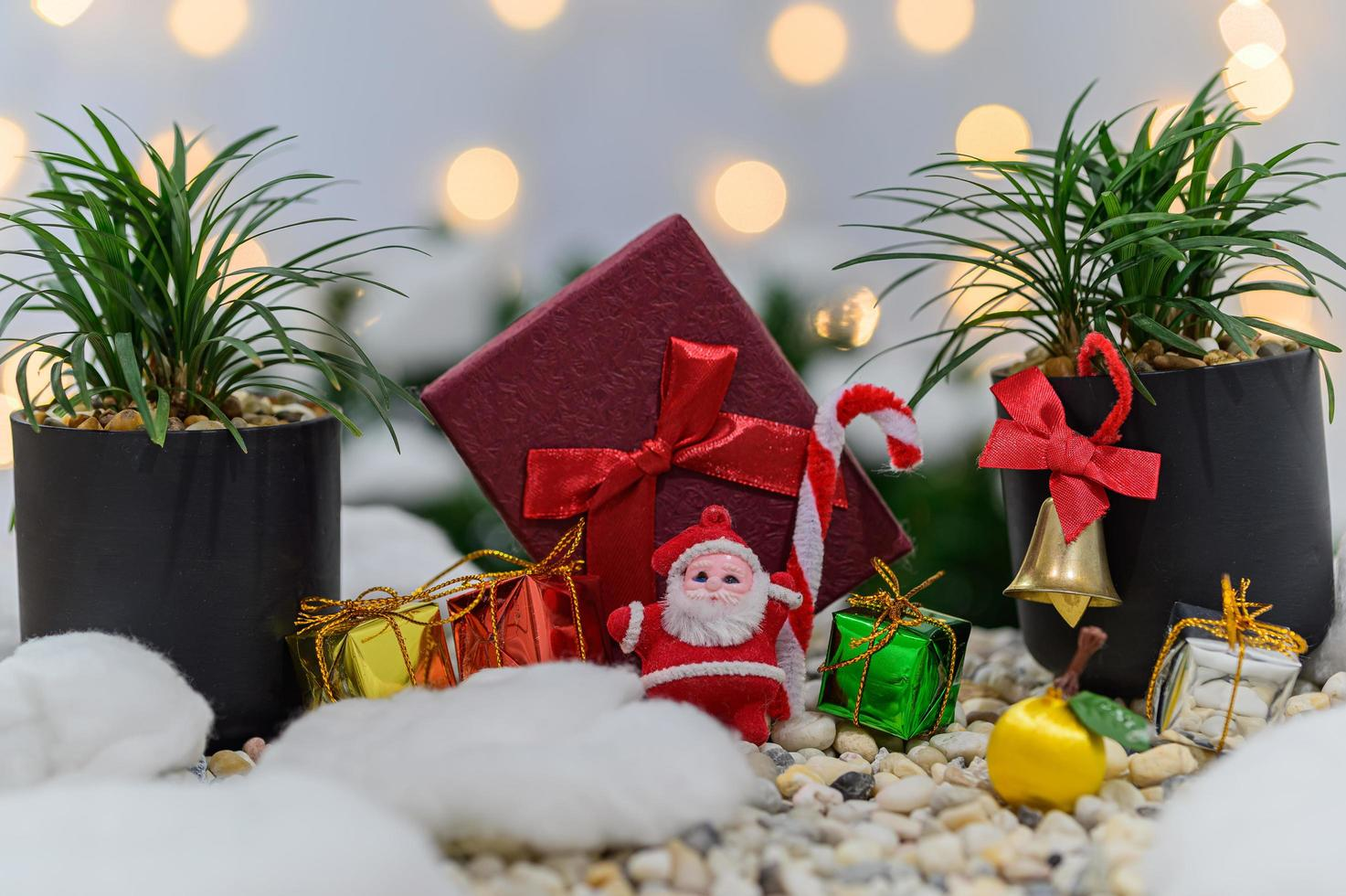 Christmas background with miniature gift boxes photo