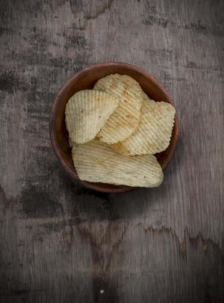 Potato chips in a bowl photo