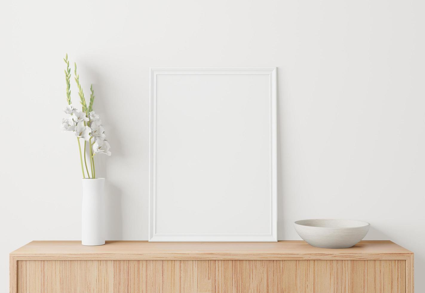 maqueta de cartel interior de casa con marco foto