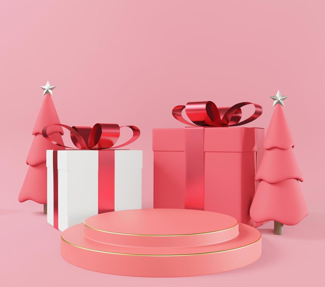 caja de regalo cuadrada blanca y roja y podio rosa foto