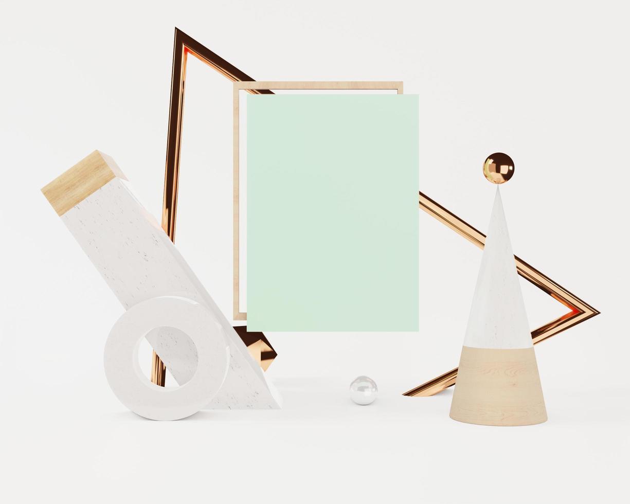 Escena de maqueta abstracta con marco pastel foto