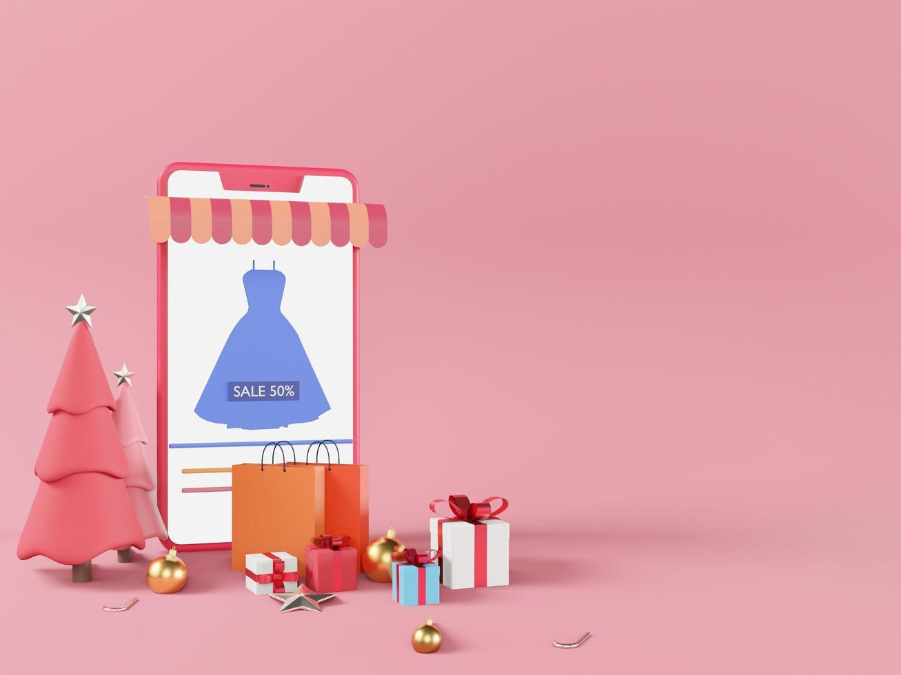 maqueta de diseño de comercio electrónico sobre fondo rosa foto