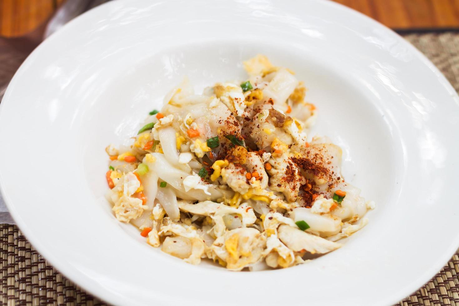 Close-up of fried noodles with shrimp photo