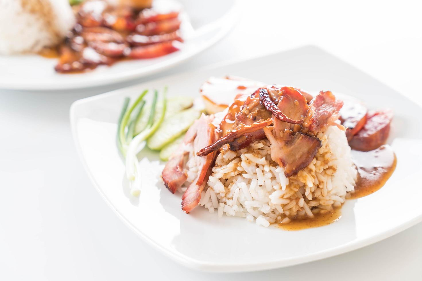 Barbecued red pork in sauce with rice photo
