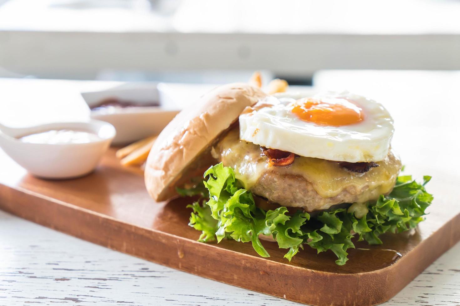Cheese pork hamburger photo