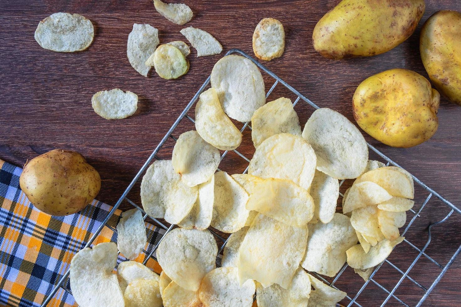 Some fresh fried potato chips photo