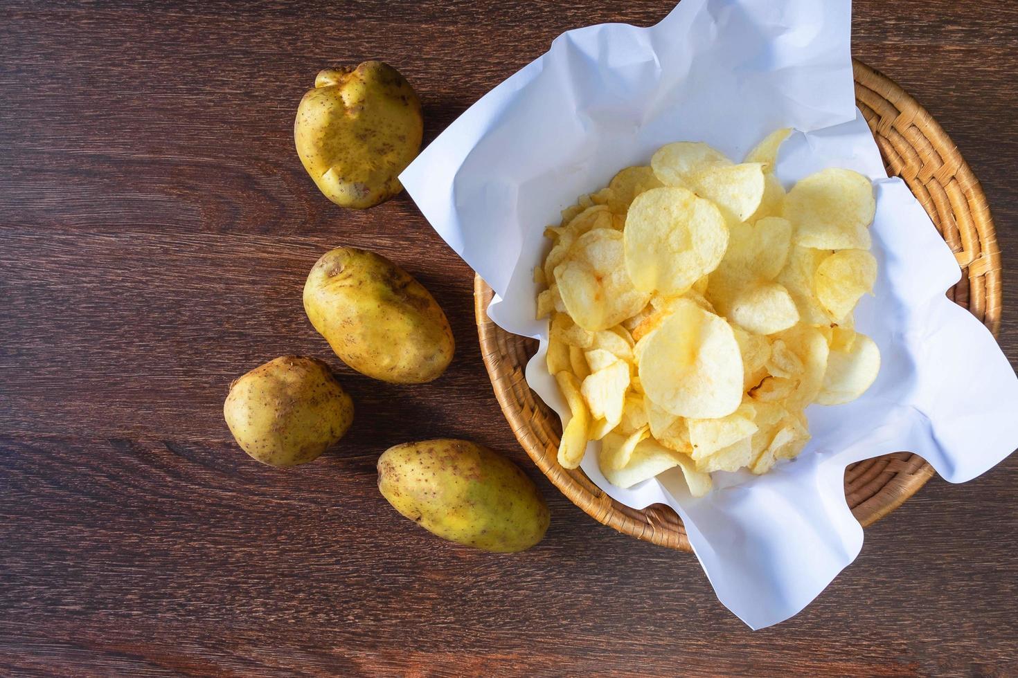 Fried potato chips in basket photo