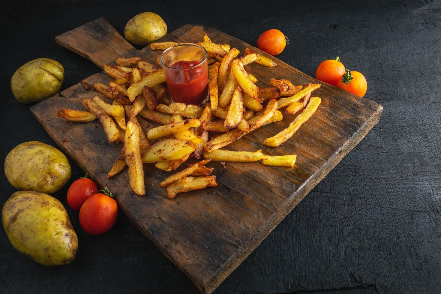Fresh french fries with ketchup photo