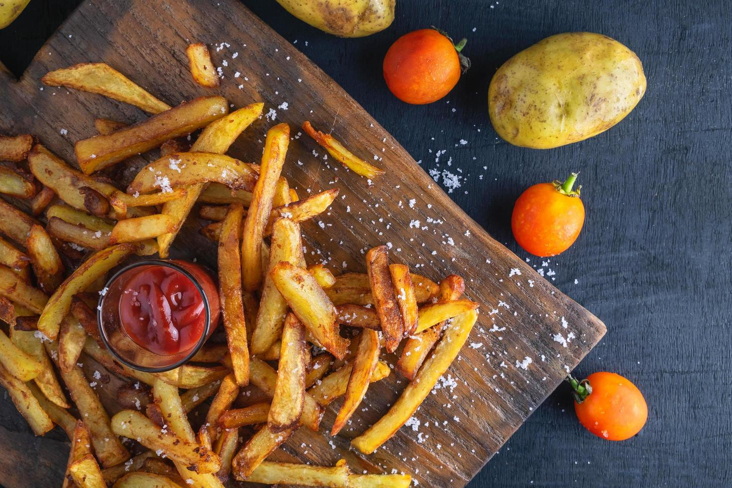 Home baked French fries photo