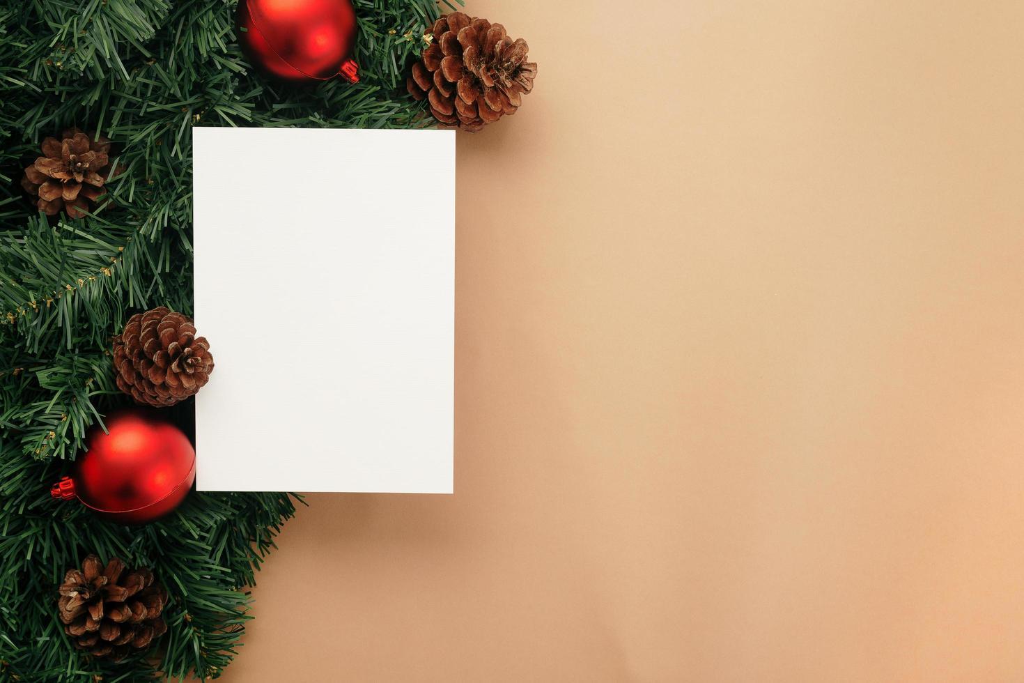Merry Christmas greeting card mockup template photo