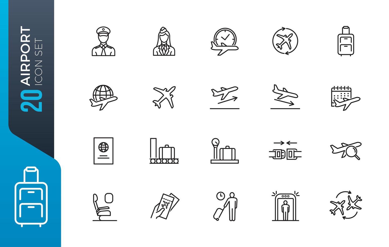 Minimal airport icon set vector