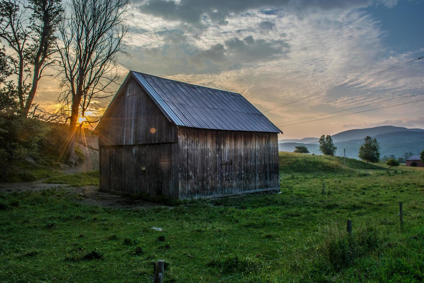 Brown wooden shed surrounded by green grass photo