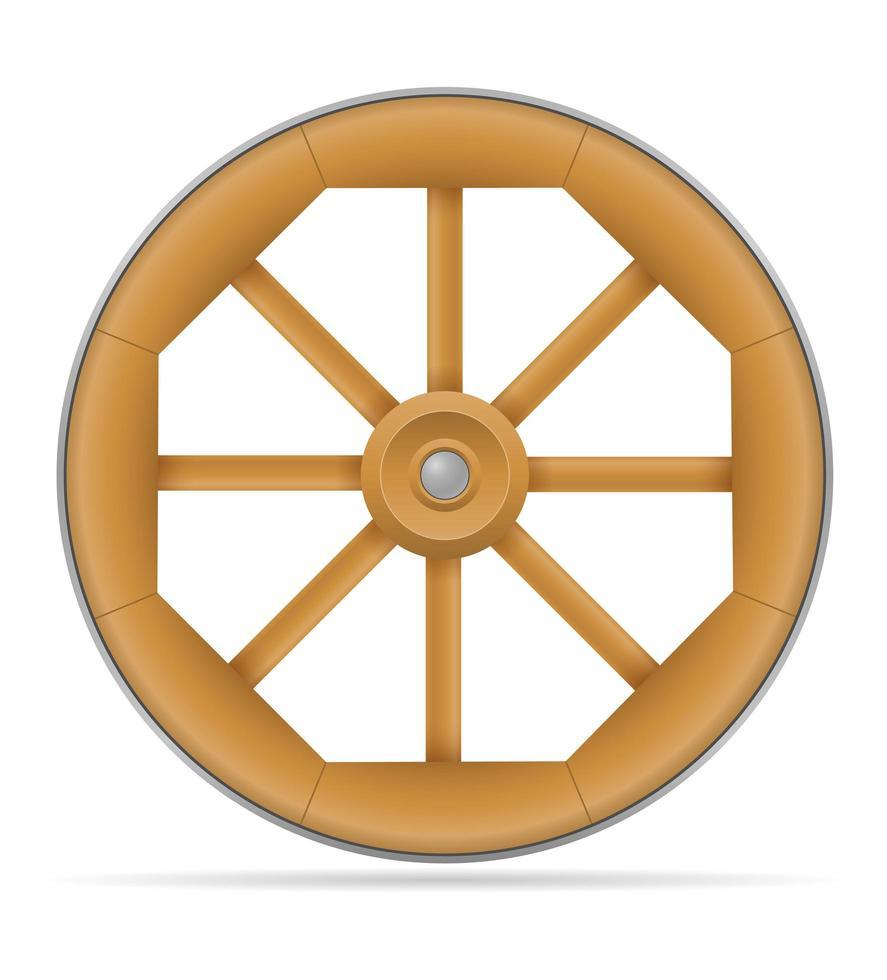 Wooden cart wheel vector