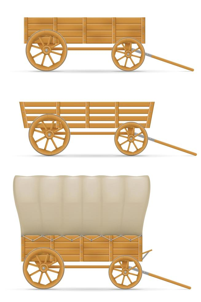 Wooden carts for horse set vector