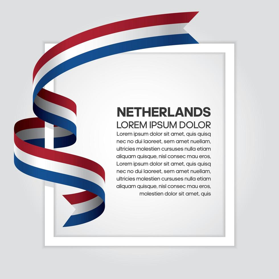Netherlands abstract wave flag ribbon vector