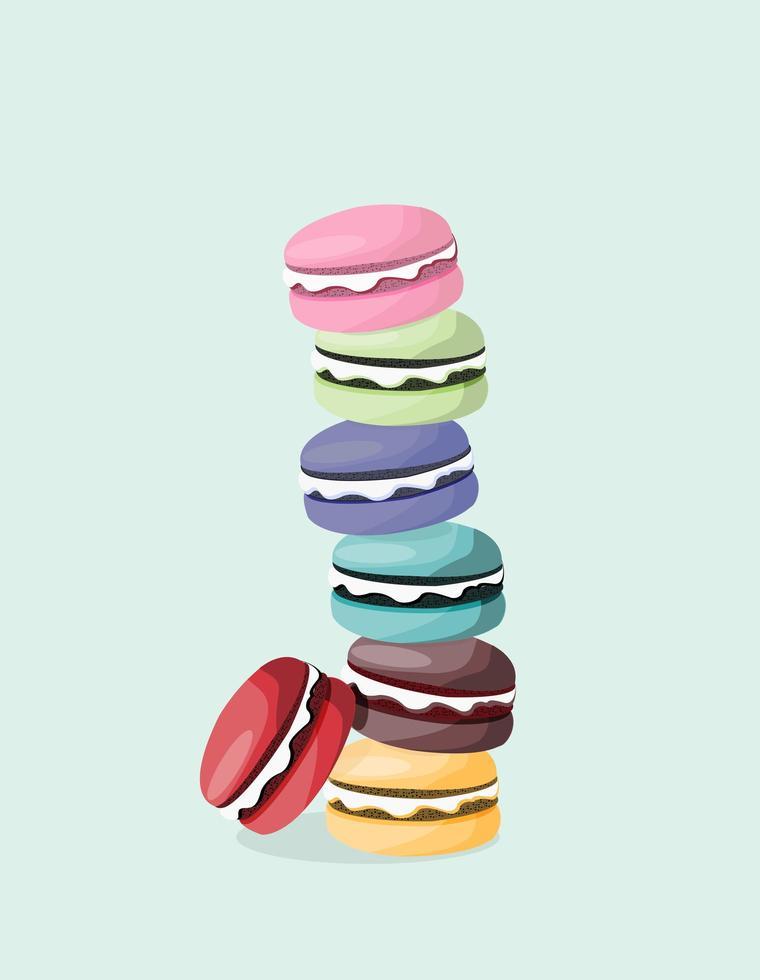pila de macarons coloridos vector