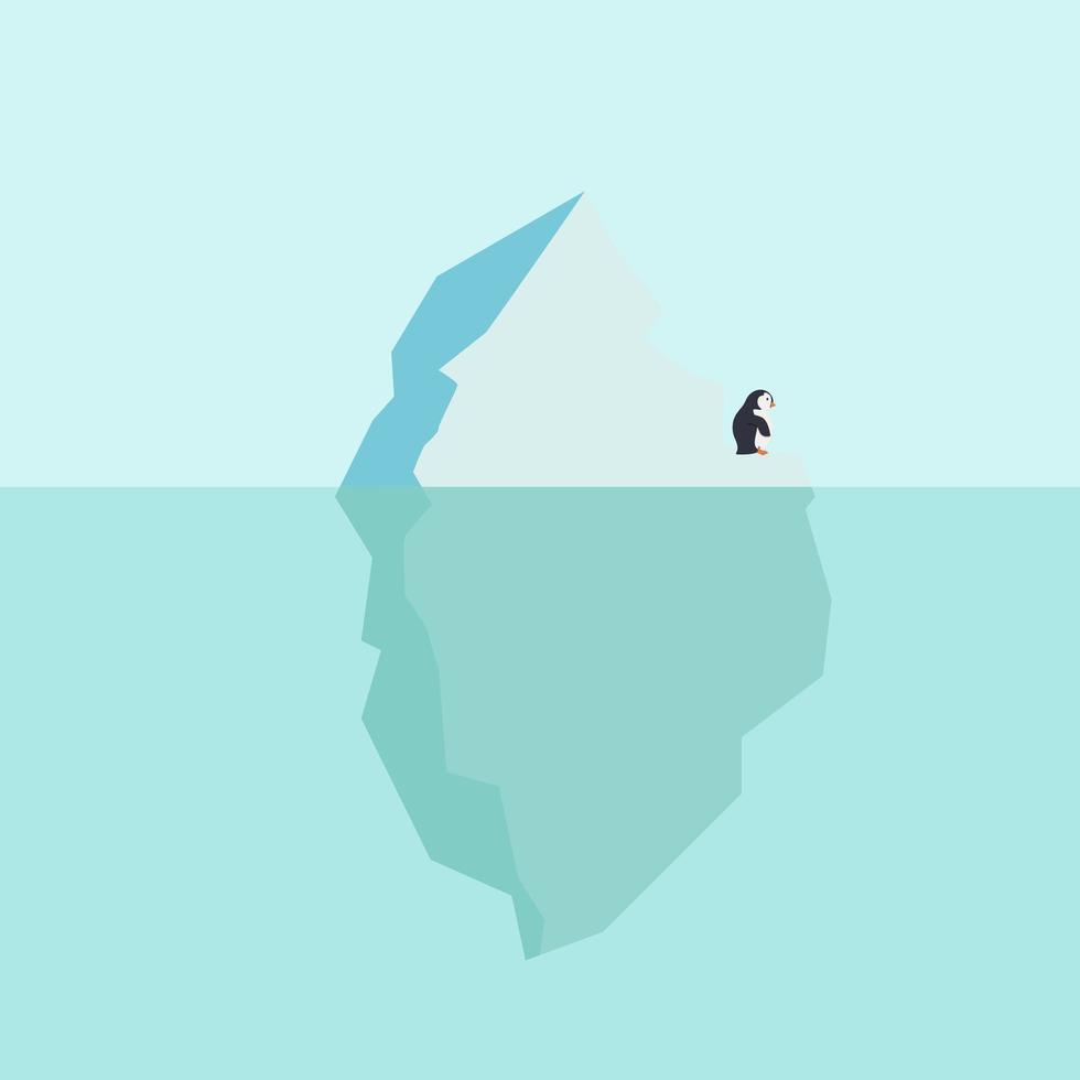 pingüino en glaciar flotando en el mar ártico vector