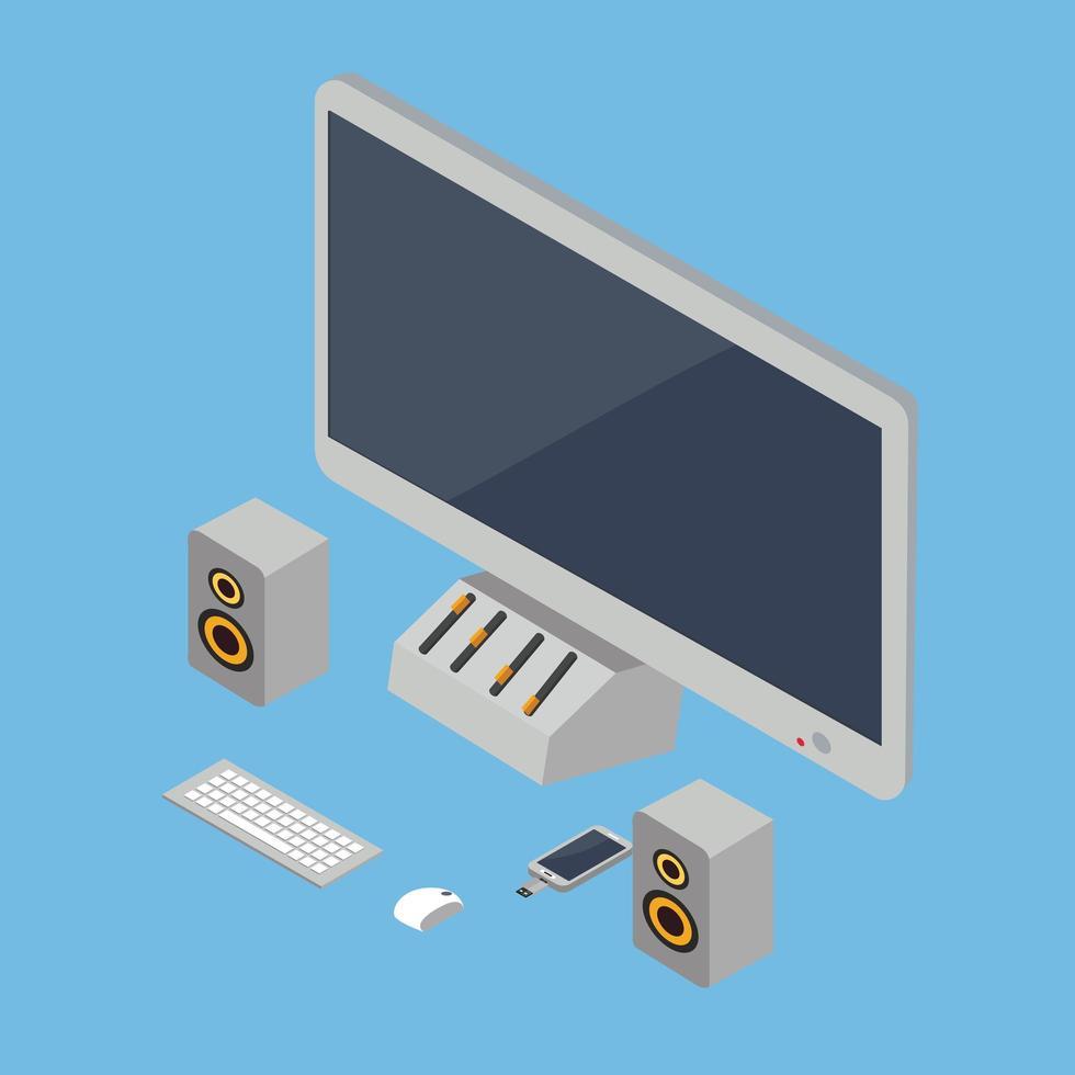 computadora de escritorio isométrica y accesorios tecnológicos vector