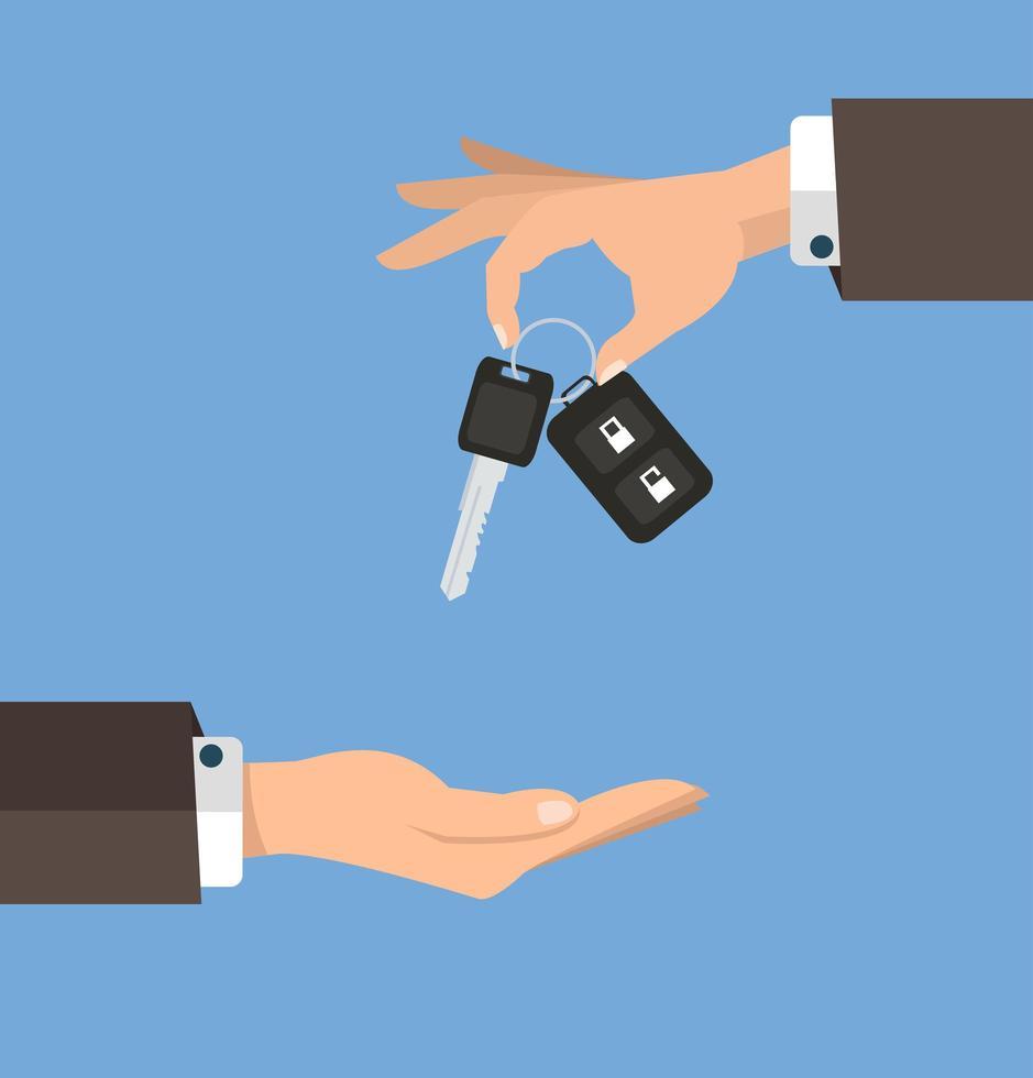 Businessman handing set of keys to buyer vector