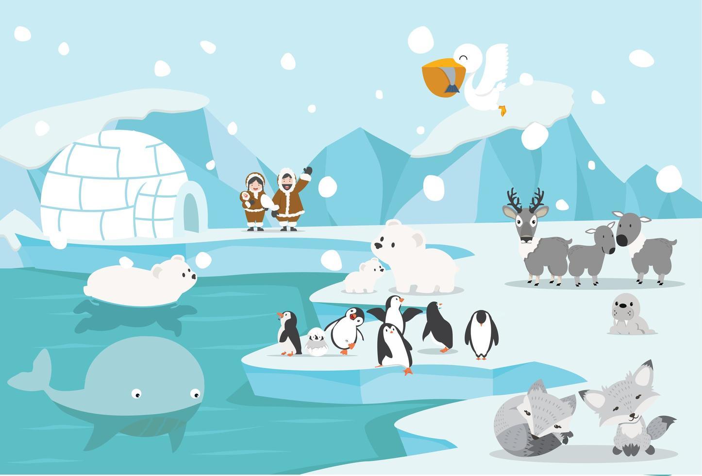 animales y personas en un paisaje ártico frío. vector