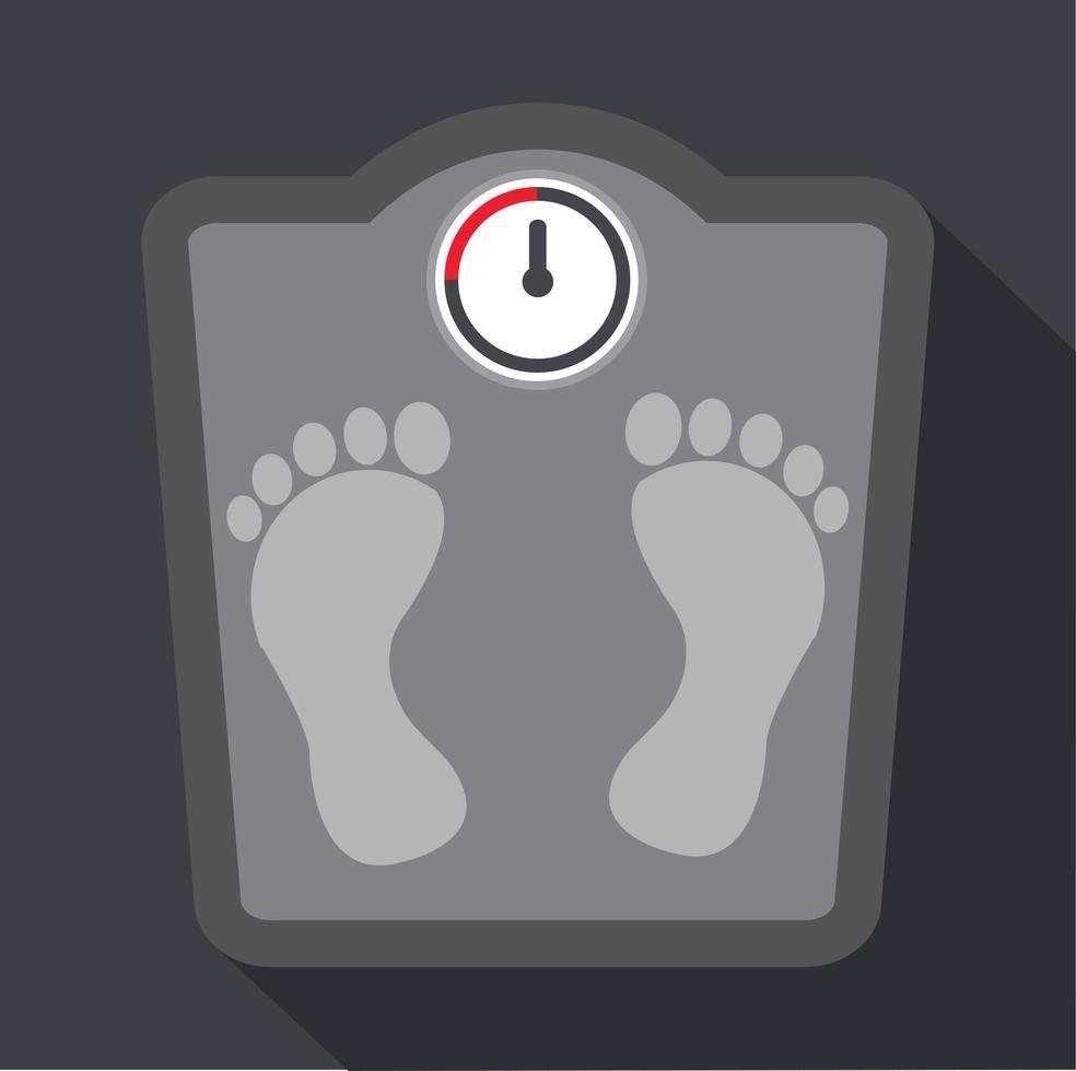 huellas en una escala de peso corporal vector