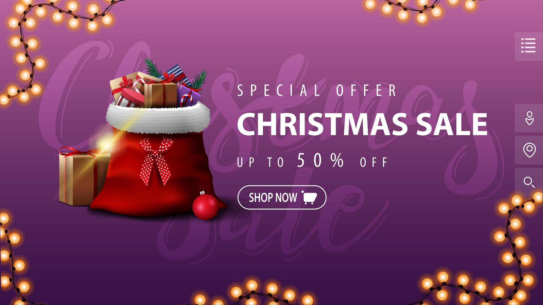 Purple discount banner in minimalistic style vector