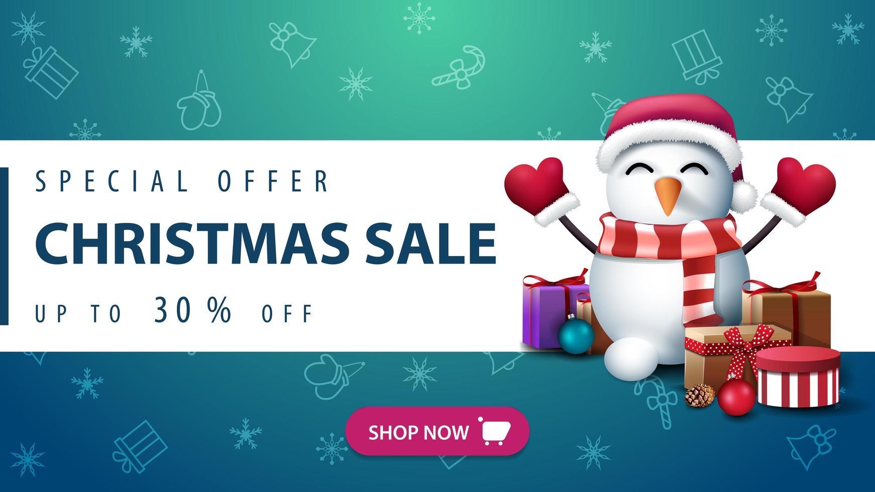 banner con patrón navideño y muñeco de nieve vector