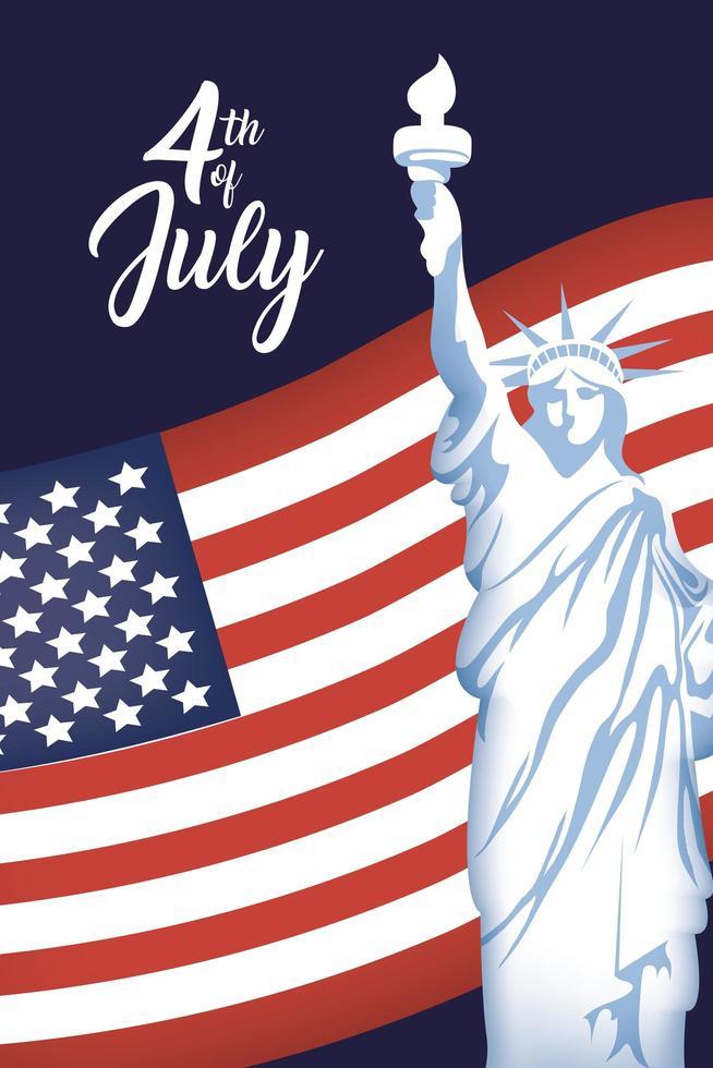cartel del día de la independencia de estados unidos con la estatua de la libertad vector