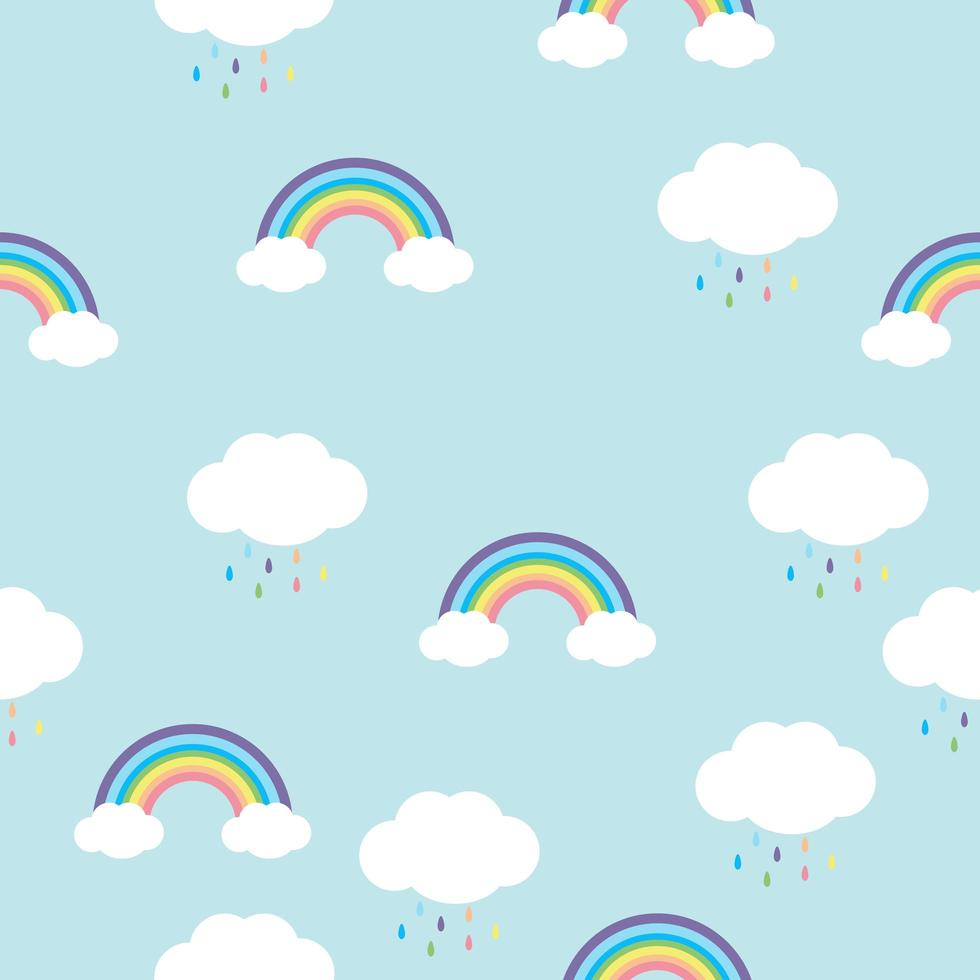 Seamless pattern of rainbows and rainclouds vector