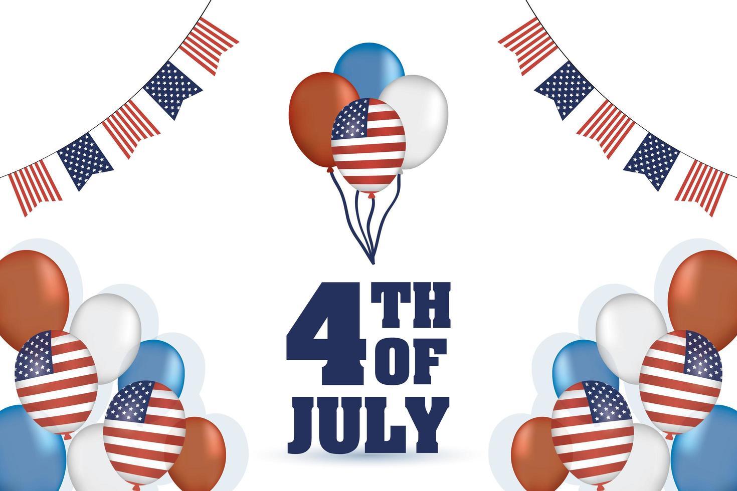 día de la independencia de estados unidos con banderas y globos vector
