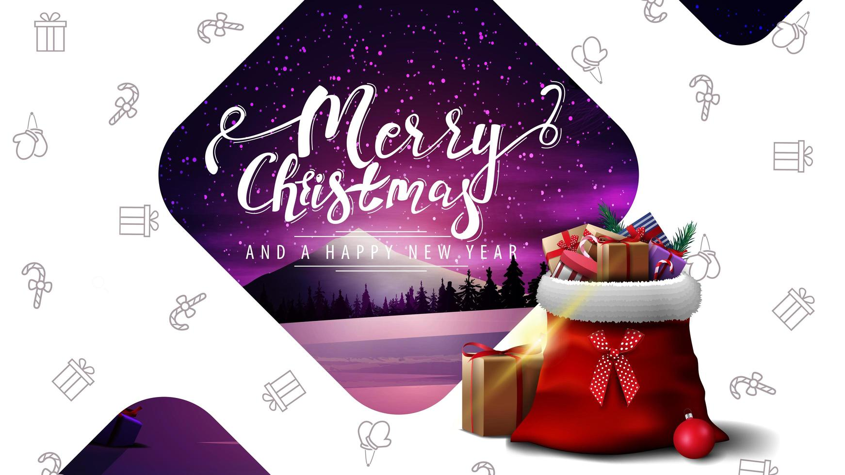 Postcard with winter landscape and Santa Claus bag vector
